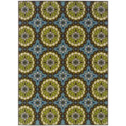 Floral Medallion Blue Indoor/Outdoor Rectangular Rug