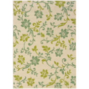 Delicate Vine Floral Indoor/Outdoor Rectangular Rug