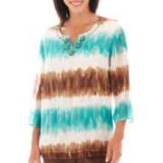 Alfred Dunner® Ipanema 3/4-Sleeve Chevron Tie-Dyed Tunic