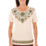 Alfred Dunner® Ipanema Short-Sleeve Tribal Yoke Top