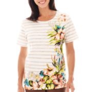 Alfred Dunner® Ipanema Short-Sleeve Striped Floral Border Top