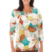 Alfred Dunner® Ipanema 3/4-Sleeve Stained Glass Floral Top