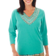 Alfred Dunner® Ipanema 3/4-Sleeve Beaded Yoke Top