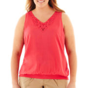 a.n.a® Sleeveless Scalloped Lace Top - Plus