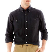 St. John's Bay® Long-Sleeve Solid Flannel Shirt
