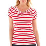 Lark Lane® Short-Sleeve Draped Boatneck Top
