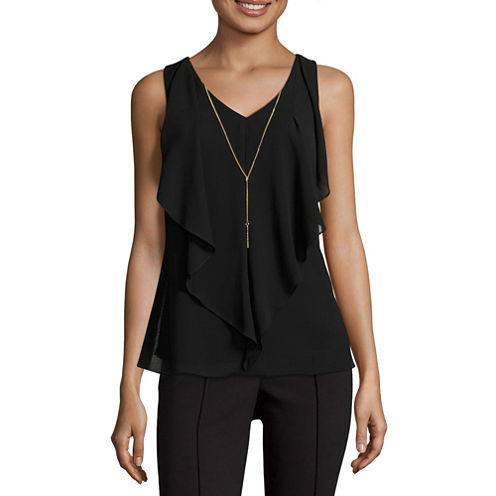 by&by Short Sleeve Round Neck Woven Blouse-Juniors