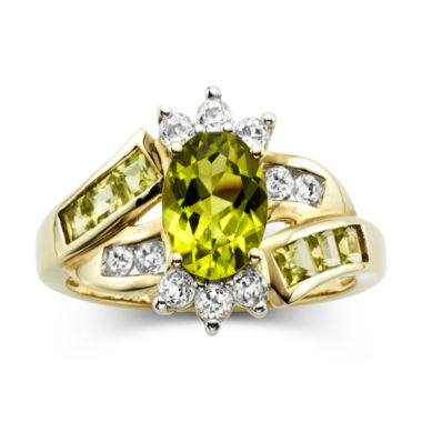 jcpenney.com | Peridot & White Sapphire 14K Gold Over Sterling Ring
