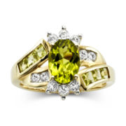 Peridot & White Sapphire 14K Gold Over Sterling Ring