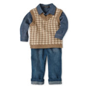 Wendy Bellissimo™ 3-pc. Vest Chambray Set - Boys 6m-24m