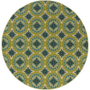 Floral Medallion Blue Indoor/Outdoor Round Rug