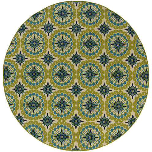 Covington Home Floral Medallion Blue Indoor/Outdoor Round Rug