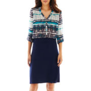 a.n.a® Mandarin Collar Top or Knit Skirt - Petite