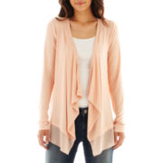 a.n.a® Long-Sleeve Chiffon-Trim Cardigan - Petite