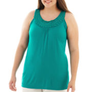 U-Knit Embellished Scoopneck Tank Top - Plus