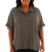 89th & Madison Short-Sleeve Knit Swing Shirt - Plus