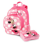 Disney Pink Minnie Mouse Backpack and Accessories