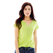 Joe Fresh™ Short-Sleeve Crochet V-Neck Tee