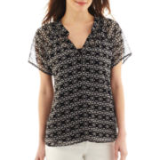a.n.a® Short-Sleeve Mandarin-Neck Chiffon Top