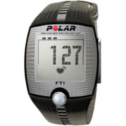Polar® FT1 Mens Heart-Rate Monitor Chronograph Black Strap Watch