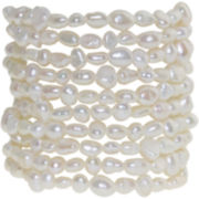 Cultured Freshwater Pearl Set of 10 Stretch Bracelets