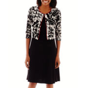Perceptions Short-Sleeve Print Textured Jacket Dress
