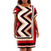 Studio 1® Dolman-Sleeve Zigzag Print Sheath Dress - Plus