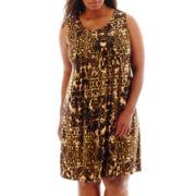 RN Studio by Ronni Nicole Sleeveless Pleat-Neck Dress - Plus
