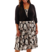 Perceptions 3/4-Sleeve Floral Print Jacket Dress - Plus