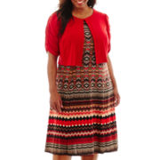 Danny & Nicole® Short-Sleeve Aztec Print Jacket Dress - Plus