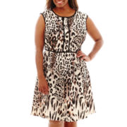 Studio 1® Extended-Shoulder Animal Print Fit-and-Flare Dress - Plus