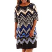 Studio 1® 3/4-Sleeve Chevron Print Knit Shift Dress - Plus