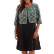 Danny & Nicole® 3/4-Sleeve Peacock Print Jacket Dress - Plus
