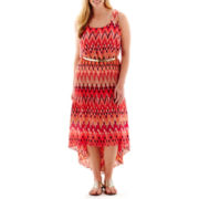 Studio 1® Sleeveless Chevron Print Belted Blouson Maxi Dress - Plus