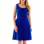 Alyx® Sleeveless Belted Bi-Stretch Fit-and-Flare Dress - Plus
