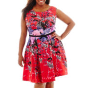J. Taylor Sleeveless Floral Print Belted Fit-and-Flare Dress - Plus
