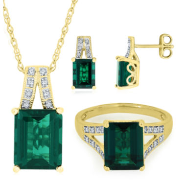jcpenney.com | Lab-Created Emerald & White Sapphire 14K Gold over Sterling Silver Jewelry