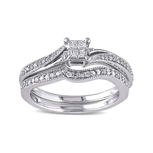 1/4 CT. T.W. Diamond 10K White Gold Multi-Top Bridal Ring Set