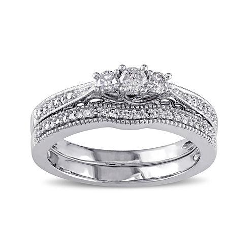 1/3 CT. T.W. Diamond 10K White Gold 3-Ring Bridal Ring Set