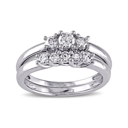2/5 CT. T.W. Diamond 10K White Gold 3-Stone Bridal Ring Set