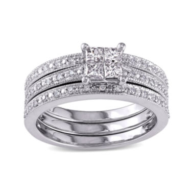 jcpenney.com | 3/8 CT. T.W Diamond 10K White Gold Multi-Top Bridal Ring Set