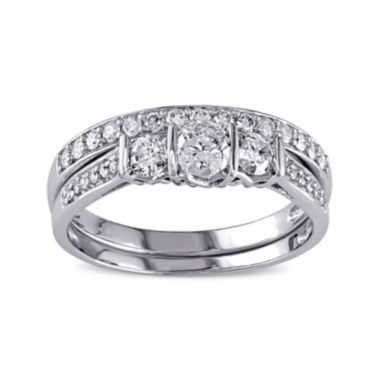 jcpenney.com | 3/4 CT. T.W. Diamond 10K White Gold 3-Stone Bridal Ring Set