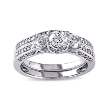 jcpenney.com | 1-1/10 CT. T.W. Diamond 14K White Gold 3-Stone Bridal Ring Set