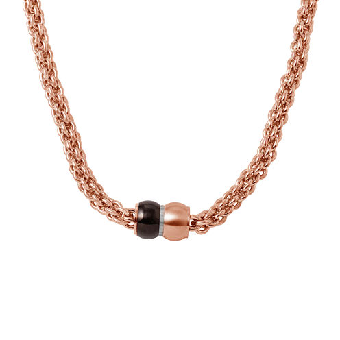 Mens Stainless Steel and Rose-Tone IP Braided Chain