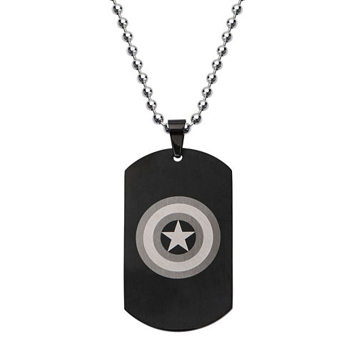 Marvel Captain America Logo Mens Stainless Steel and Black IP Dog Tag Pendant Necklace
