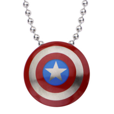 jcpenney.com | Marvel Captain America Shield Mens Stainless Steel Pendant Necklace