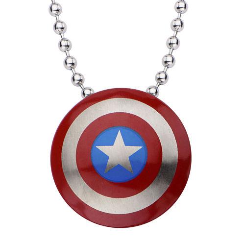 Marvel Captain America Shield Mens Stainless Steel Pendant Necklace