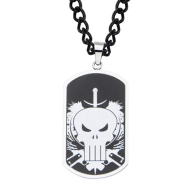 jcpenney.com | Marvel Punisher Mens Stainless Steel and Black IP Dog Tag Pendant Necklace