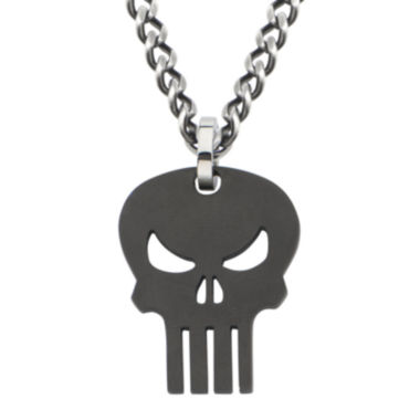 jcpenney.com | Marvel Punisher Skull Mens Stainless and Black IP Steel Pendant Necklace