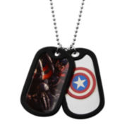 Marvel Captain America Mens Stainless Steel Double Dog Tag Pendant Necklace